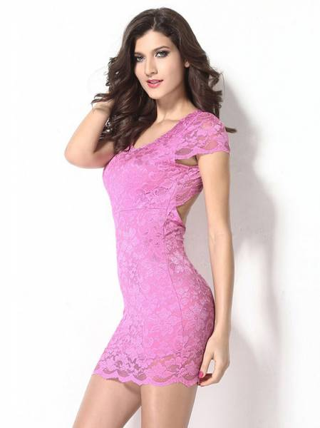 Women Sexy Backless Enticing Lace Surface Short Sleeved High-waist Midi Bodycon Dress