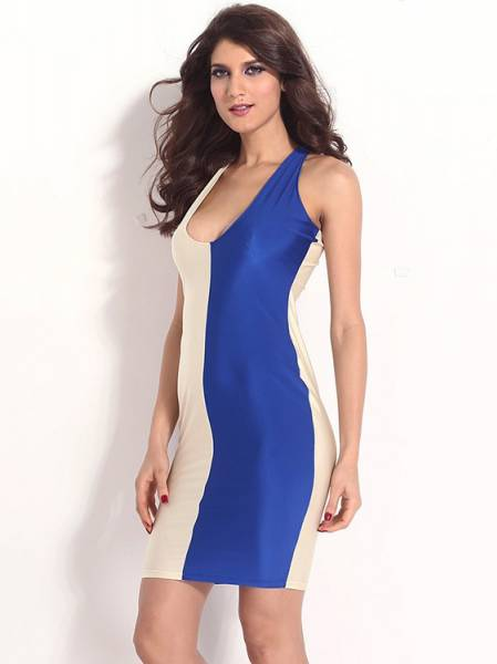 High Waist Sleeveless Plunging Neck Contrast Two Colors Bodycon Midi Dresses Cheap Sale