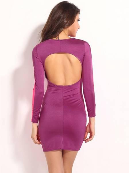 Vintage Three Quarter Sleeve High-waist Sexy Cut Out Back Bodycon Mini Dress Online