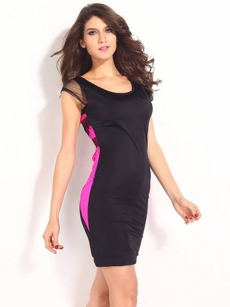 High Waist Short Sleeved Contrast Color Sexy Hollow Out Mesh Back Bodycon Mini Dress
