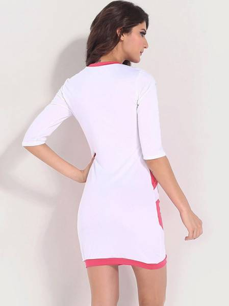 Patchwork Half Sleeve Hollow Out Mesh Chest Accent Bodycon Mini Dresses Cheap on Sale