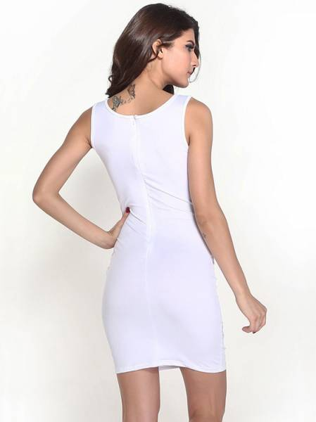 Scoop Neckline Sleeveless Hollow Out Mesh Spliced Empire Mini Bodycon White Dress