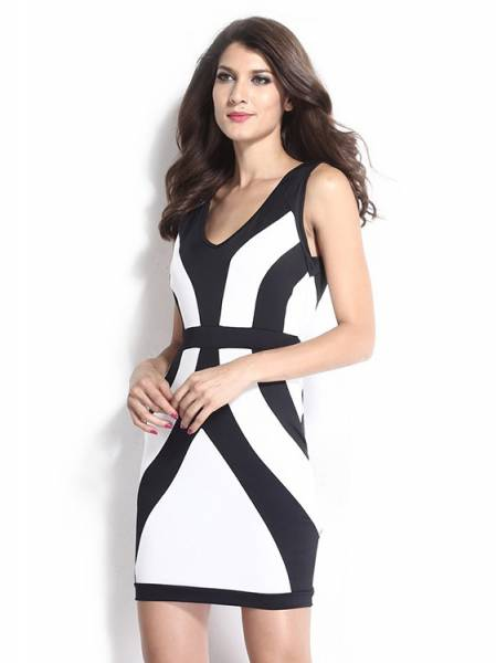 2015 Black White Thick Straps Sleeveless Curvy Lines Bodycon Mini Dress for Women Online