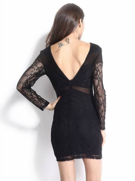 Chic Long Sheer Floral Sleeves Mesh Hollow Out High Waisted Black Mini Bodycon Dress
