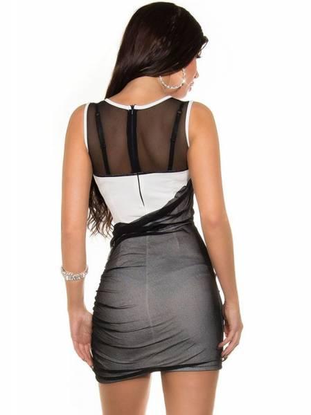Sexy Ladies Sleeveless Mesh Insert High Wasited Sequined Bodycon Short Mini Dresses