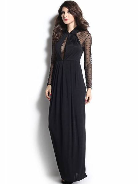 560e12ff26d9 ... High Waisted Long Mesh Sleeves Slit Hemline Draped Straight Black Maxi  Dress for Women ...