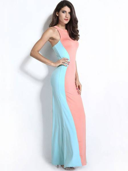 Floor Length High Waisted Sleeveless Swerve Halter Ruched Sheath Maxi Dress for Women