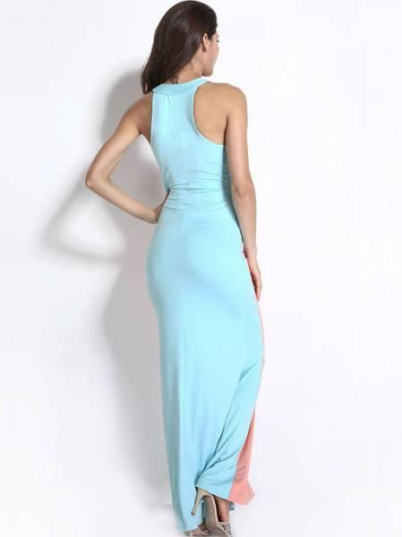 Floor Length High Waisted Sleeveless Swerve Halter Ruched Sheath Maxi Dress for Women