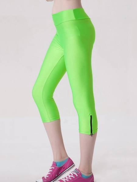 Womens Stretchy Fluorescent Side Zipper Mid Length Capri Leggings