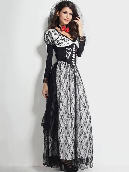 Vintage 2 PCS Skeleton Printed Bone Yard Bridal Halloween Costume Online