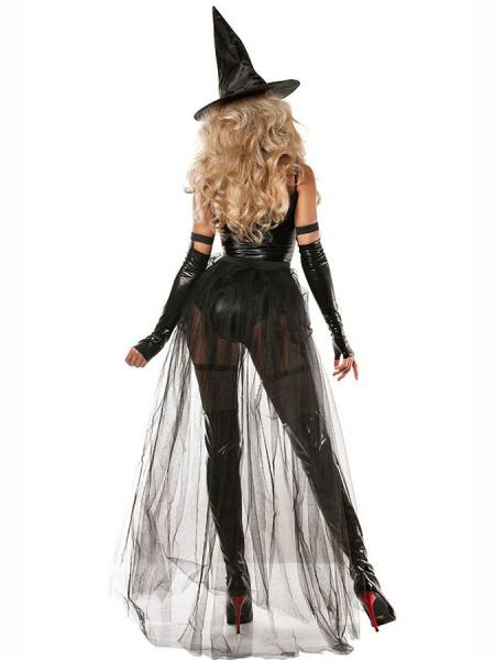 Black 4 Pieces Sexy Witchcraft Halloween Costume for Miss Cheap Online