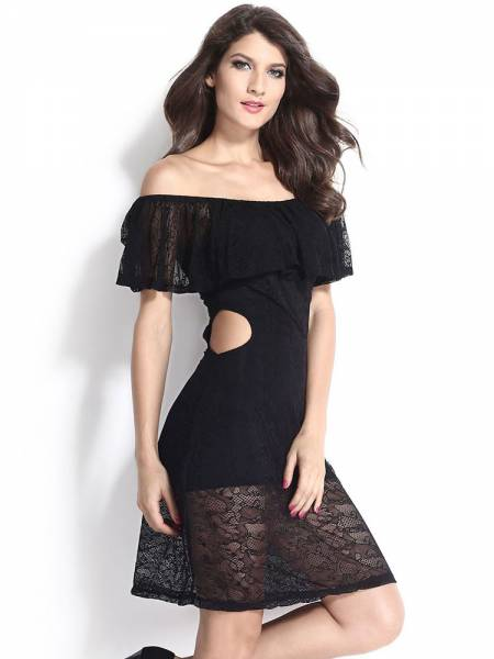 Cold Shoulder Lace Cut-out High Waist Ruffled Knee Length Lady Dresses