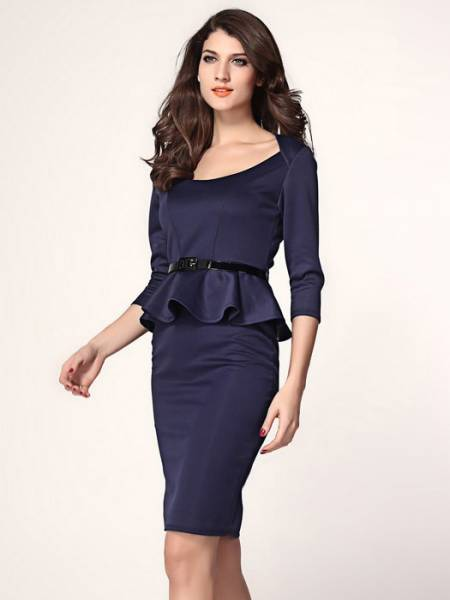 High Waist Three Quarter Sleeved O-neck Ruffles Peplum Skintight Midi Dresses With Waistband