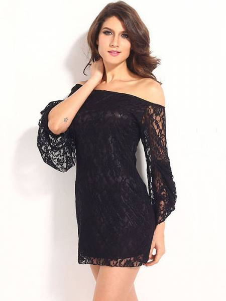 Vilanya High Waist Slash Neck Flare Sleeve Hollow Out Lace Off The Shoulder Mini Dresse
