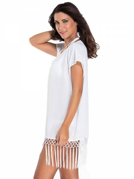 7ac885e9f4 ... Kimono Style Short Sleeves Kaftan Beach Wear with Crochet Fringe  Hemline Sale ...