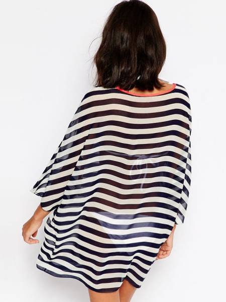 Light Sleeves Sheer Chiffon Striped Summer Beachwear Silky Kimono Coverup