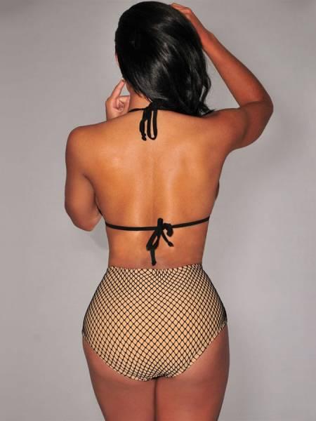 Sexy Fishnet High Waisted Push-up Halter Padded Triangle Bikini Set for Women