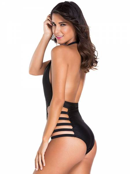 5efa39b390 ... Teddy Style Plunging Empire Backless Halter Sexy Cut Out One Piece  Swimsuits ...