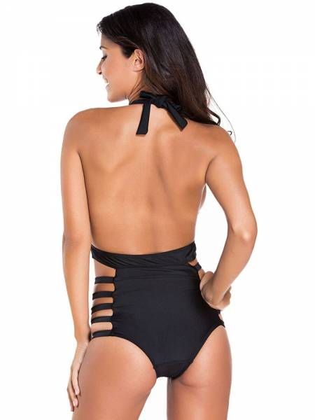Teddy Style Plunging Empire Backless Halter Sexy Cut Out One Piece Swimsuits