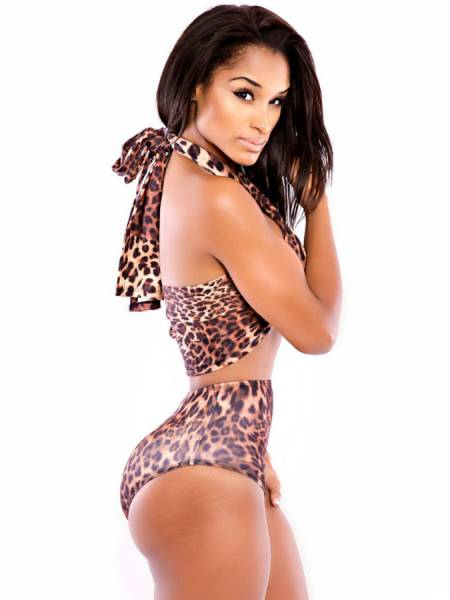 Two Pieces Leopard Bikini Set with Twisted Halter Top and High Waist Bottom