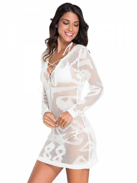cafac0210d ... White Crochet Long Sleeves Sheer Knitted Short Tunic Beach Cover-up ...