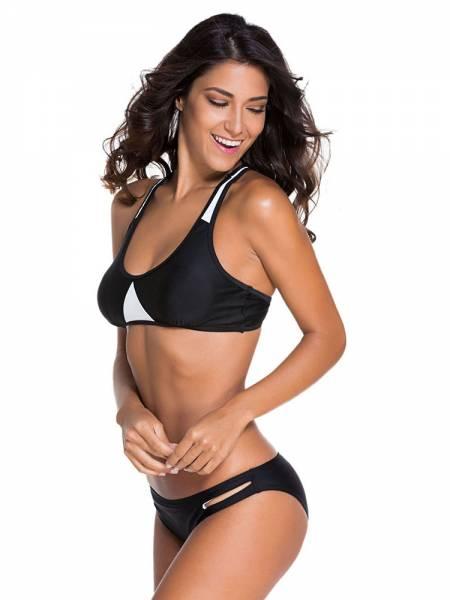 Womens Sexy 2pcs Bikini Set with Racer Style Padded Top & Cutout Bottom