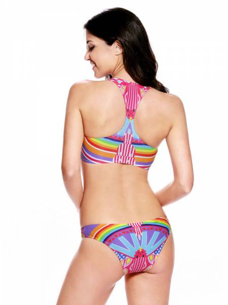 2PCS Colorful Tribal Print Padded Reversible High Neck Sporty Tankinis