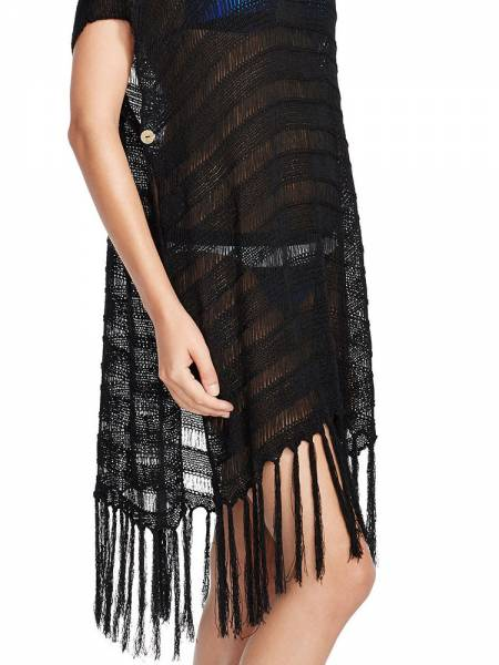 Bohemian Inspired Short Sleeve Flirty Fringed Crochet Sheer Poncho Coverups