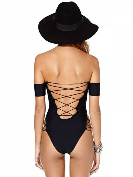 Off Shoulder High Cut Legs Sleeved One Piece Swimwear with Lacing-up Details