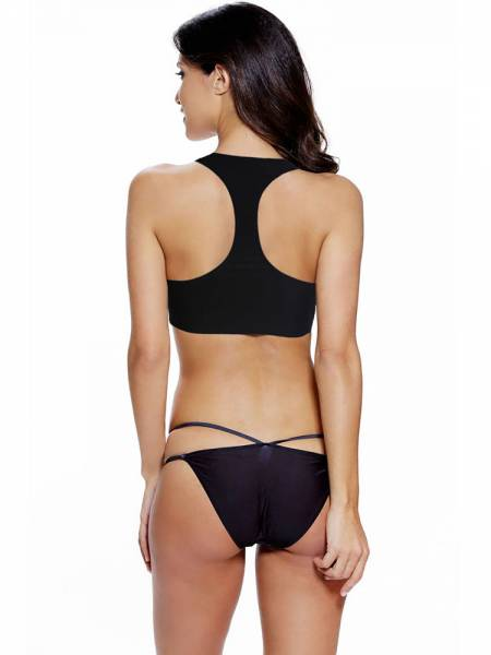 Sexy Tankini with Highneck Geometric Patterm Top & Strappy Cheeky Bottom