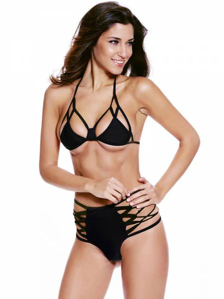 Two Pieces Bikini Set with Lacing Back Halter Top and Cutout Sides Bottom