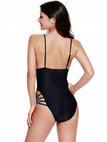 V-neck Sexy Cutout Adjustable Pullover Straps Padded One Piece Swimsuit