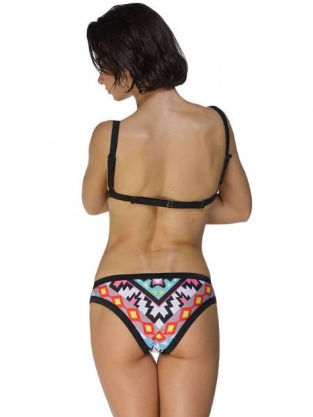 Colorful Pattern Printing Adjustable Pull Over Bikini Top & Hipster Bottom