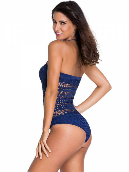 eefedb84bb1ff ... Delicate Teddy Style Halter Lace One Piece Swimsuit with Hollow Out  Details ...