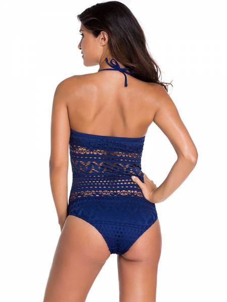 Delicate Teddy Style Halter Lace One Piece Swimsuit with Hollow Out Details