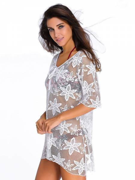 Embroidery Fishnet Half Sleeves High Low Cut Hem Crochet Kaftan Coverup
