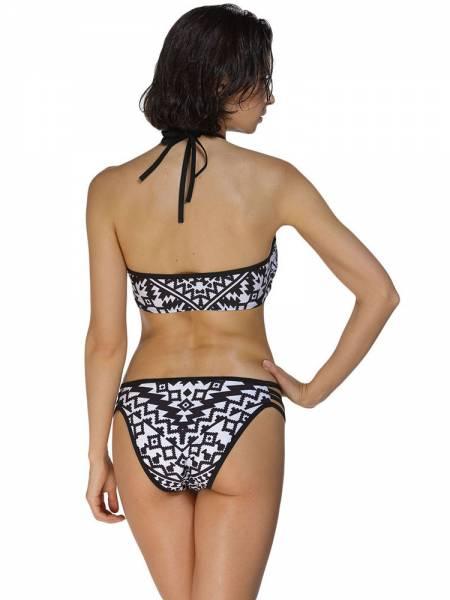 Halter Neckline Multi Straps Geometric Printing High Neck Hipster Bikini Set
