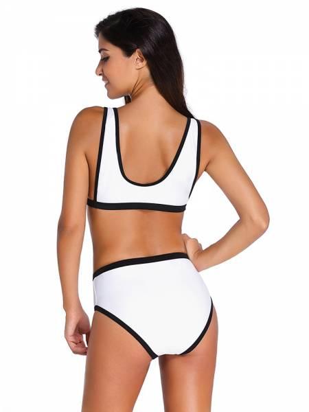 Tank Styles Scoop Neckline Bikini Top with High Rise Cutout Detail Bottom