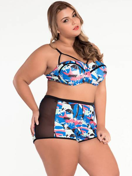 Abstract Print Padded & Underwired Mesh Insert High Waist Plus Size Bikini