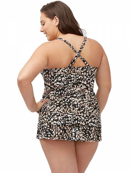 Animal Printing Underwire & Padded Molded Cups Long Torso Tankini Online