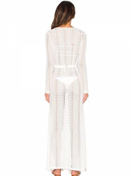 Button-up Front Long Sleeved Boho Breeze Crochet Lace Maxi Length Beachwear