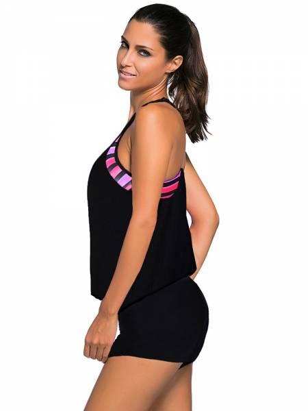 Contrast Print Inserts Sporty Racerback Bra Padding Tankini Top Women Online