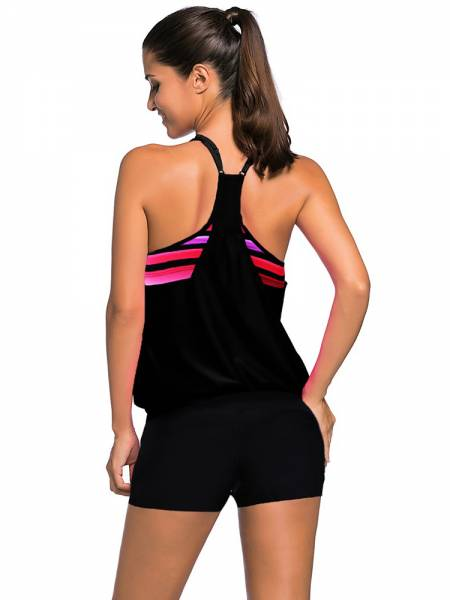 Sporty Racerback Print Insert Padded Women Tankini Top on Sale