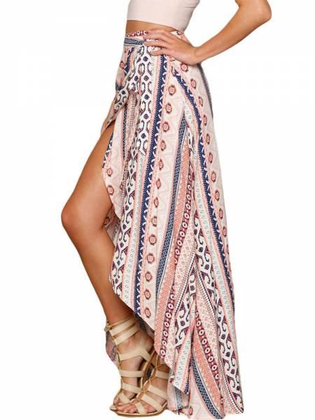 Ethnic Printed Wrap Style Asymmetric Lacing-up Maxi Beach Skirt Sarong