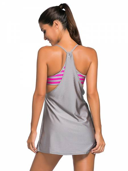 Layered Style Striped Padded Flowing Contrast Color Tankini Top for Women