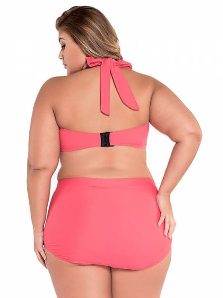 Plus Size Retro Halter Padded Bandeau Top & High-waisted Boyshort Bottom