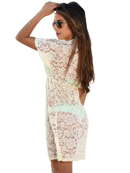 See Through Floral Lace V-neck Short Sleeved High-waist Mini Beach Dress