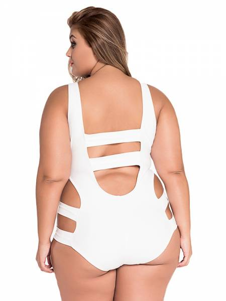 White Sexy Cut Out Bandage One Piece Plus Size Swimsuits Online