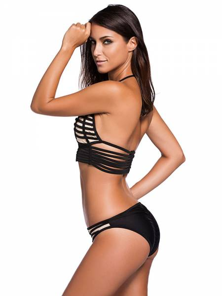 Strappy Binding Bikini with Long Line Triangular Halter Top & Scrunch Bottom
