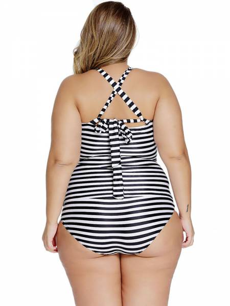 Stripe Printing Adjustable Straps Padded Tankini with Bow & Keyhole Accent